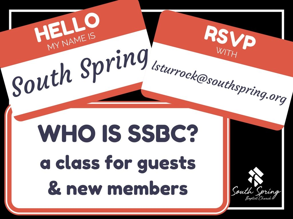 Who is SSBC Class at South Spring Baptist Church in Tyler TX