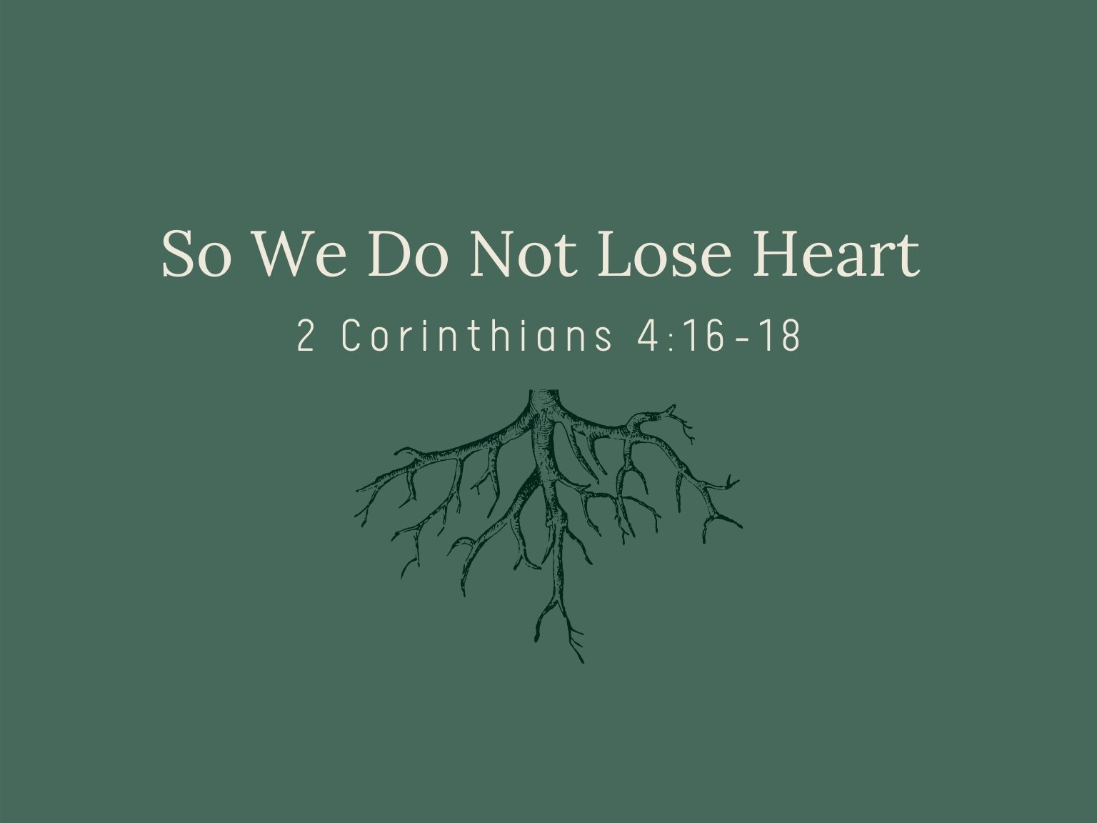 So We Do Not Lose Heart
